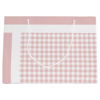 Pink White Plaid Stripe Gift Bag