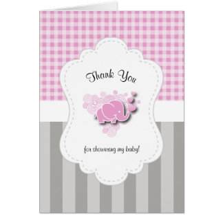 Pink & White Plaid with Gray Stripes Baby Elephant Card