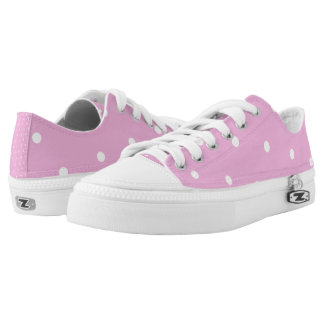 Pink/White Polka Dot Low-Top Sneakers