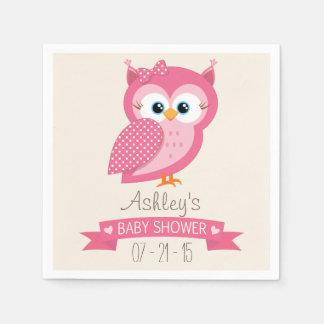 Pink & White Polka Dot Owl Baby Shower Disposable Napkin