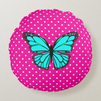PINK & WHITE POLKA DOT TURQUOISE  BUTTERFLY PILLOW