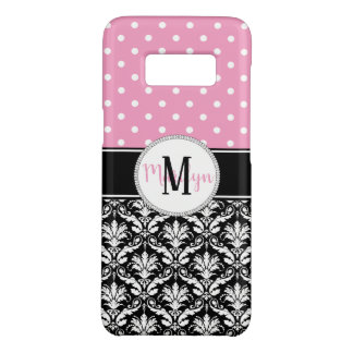 Pink White Polka Dots Damask Monogram Case-Mate Samsung Galaxy S8 Case