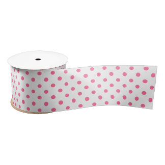 Pink & White Polkadots - Satin Ribbon