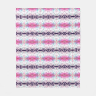 Pink, White, Purple And Blue Abstract Pattern Fleece Blanket