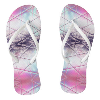 Pink, White, Purple And Blue Abstract Pattern Flip Flops