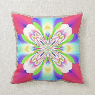 Pink White Purple Green Fractal Flower American Mo Pillow
