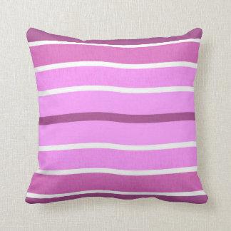 Pink White Purple Wavy Stripes Pillow