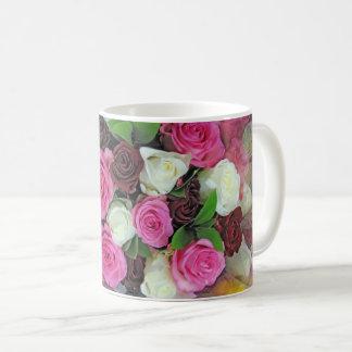 Pink White Red Roses - Coffee Mug