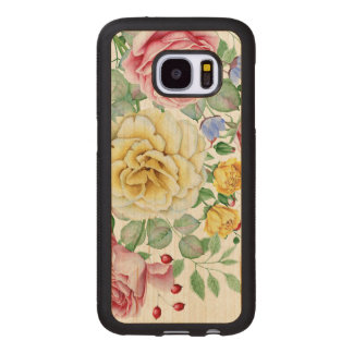Pink & White Roses Bouquet Design Wood Samsung Galaxy S7 Case