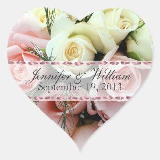 Pink & White Roses Custom Wedding Sticker