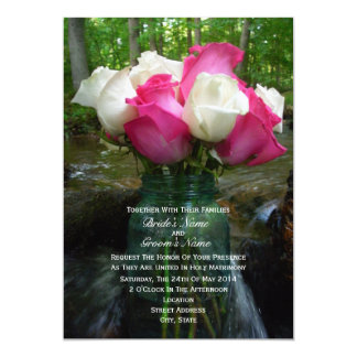 Pink & White Roses In Mason Jar on Waterfall Card