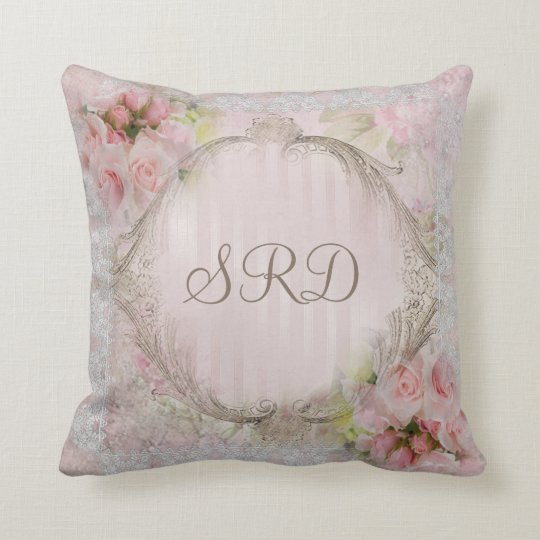 Pink & White Roses Victorian lace gold frame Throw Pillow