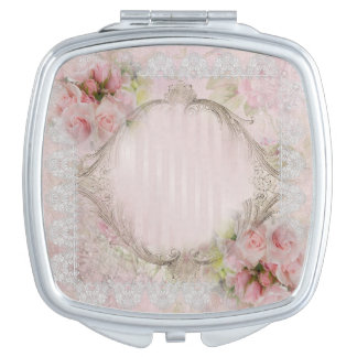 Pink & White Roses Vitorian lace gold frame Compact Mirror