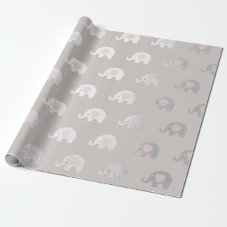 Pink White Silver Princess Elephant New Baby Wrapping Paper