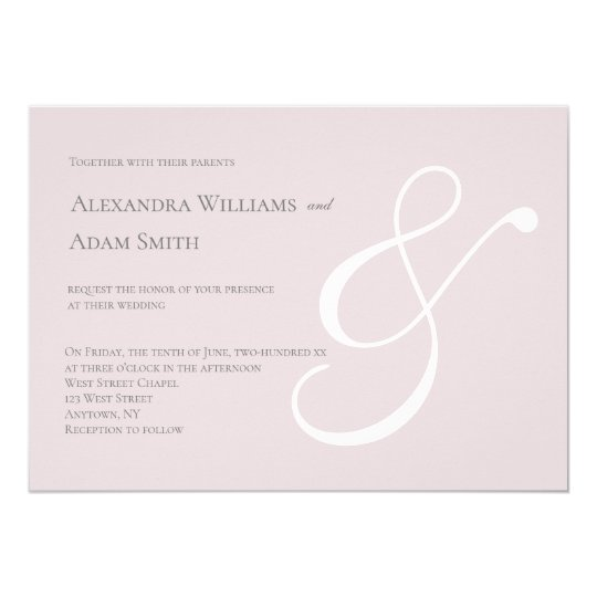 Pink & white simple ampersand wedding invitations