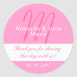 Pink White Simple Initial Wedding Favour Thank You Round Sticker