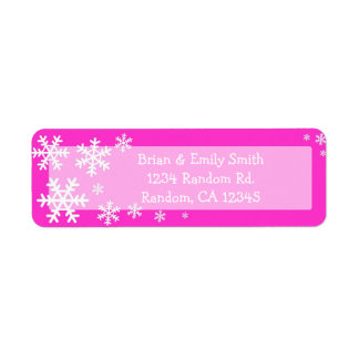 Pink white snowflake Christmas holiday labels