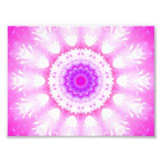 Pink White Snowy Kaleidoscope Mandala Photograph