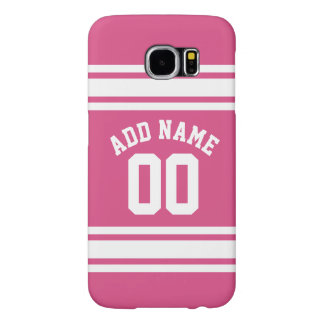 Pink White Sports Jersey with Name and Number Samsung Galaxy S6 Cases