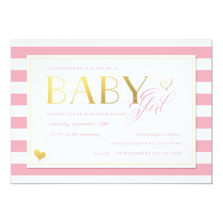 """Pink & White Stripe Baby Girl Shower with Gold 5"""" X 7"""" Invitation Card"""