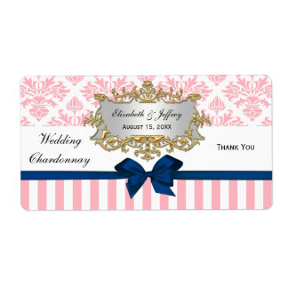 Pink White Stripe Damask Navy Blu Party Wine Label Shipping Label