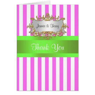 Pink White Stripe, Lime Green Ribbon Thank You Note Card
