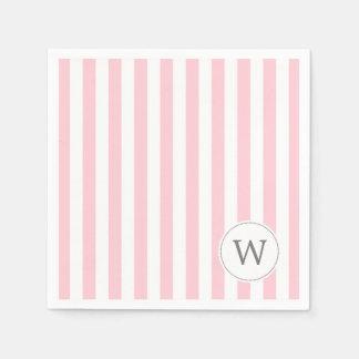 Pink White Stripe monogram baby shower decor Disposable Napkin
