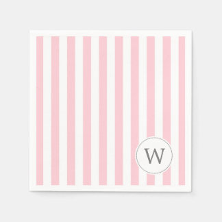 Pink White Stripe monogram baby shower decor Napkin