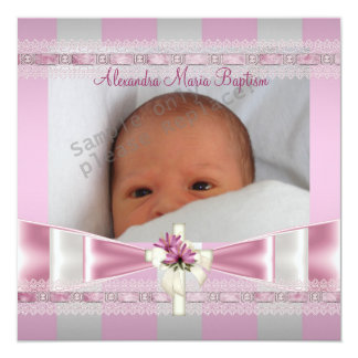 "Pink White Stripe Photo Cross Baptism Christening 5.25"" Square Invitation Card"