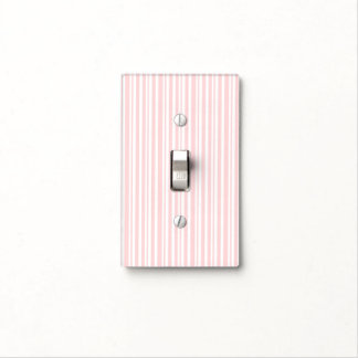 Pink & White Striped Pattern Modern Chic Light Switch Cover