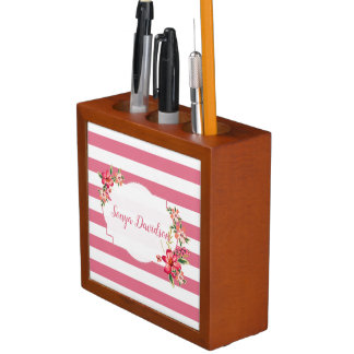 Pink White Stripes And Bouquet Desk Organizer