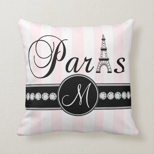 Pink White Stripes Black Parisian Monogram Pillow
