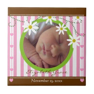 Pink white stripes & daisies baby's girl keepsake tile