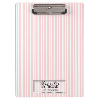 Pink White Stripes Elegant Chic Glam Personalized Clipboard