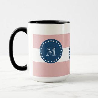 Pink White Stripes Pattern, Navy Blue Monogram Mug