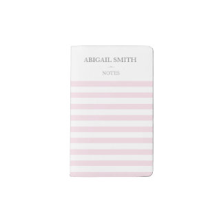 Pink & white stripes Personalized Notebook