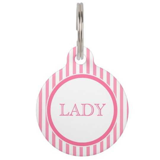 Pink & white stripes | Personalized Pet Tag
