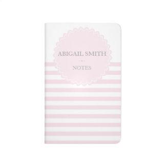Pink & white stripes Personalized Pocket Journal