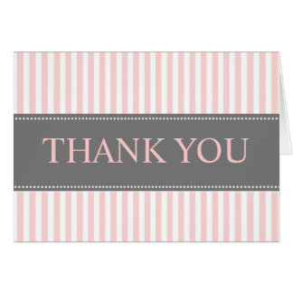 Pink + White Stripes/Thank You Note Cards