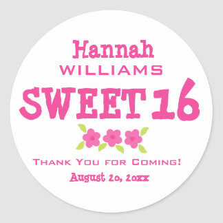 Pink & White Sweet 16 Thank You Personalized Classic Round Sticker