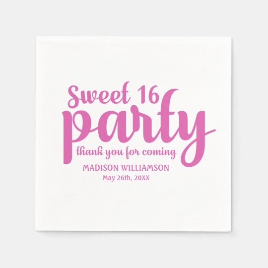 Pink & White Sweet 16 Thank You Personalized Disposable Napkins
