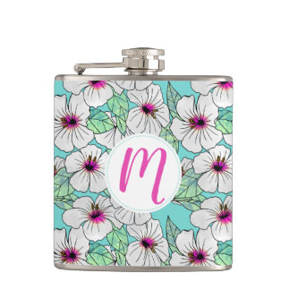Pink & White Tropical Hibiscus Floral Pattern Hip Flask
