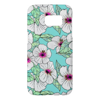 Pink & White Tropical Hibiscus Floral Pattern Samsung Galaxy S7 Case