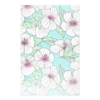Pink & White Tropical Hibiscus Floral Pattern Stationery