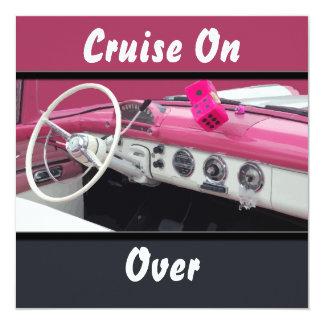"Pink & White Vintage Car Birthday Bash 5.25"" Square Invitation Card"