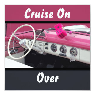 Pink & White Vintage Car Birthday Bash Card
