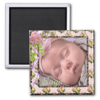 Pink & White Vintage Floral New Baby Photo Magnet