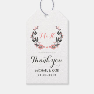 Pink White Vintage Flower Wreath Wedding Gift Tag Pack Of Gift Tags