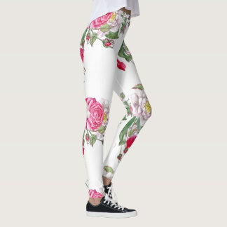 Pink & White Vintage Roses Leggings