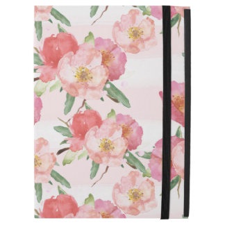 "Pink White Watercolor Floral Stripes iPad Pro 12.9"" Case"